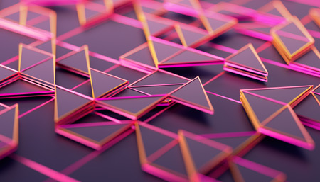 Abstract 3d rendering of geometric surface. Composition with triangles. Futuristic modern background design for poster, cover, branding, banner, placard. Reklamní fotografie - 108318581