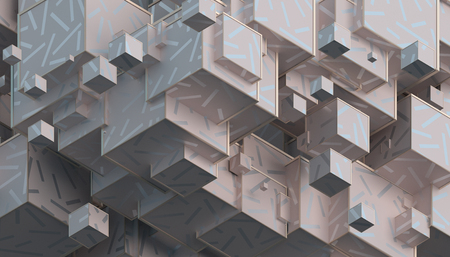 Abstract 3d rendering of geometric shapes. Composition with cubes. Modern background design for poster, cover, branding, banner, placard. 写真素材