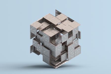 Abstrakte 3D-Wiedergabe von geometrischen Formen. Zusammensetzung mit Quadraten. Würfel-Design. Moderner Hintergrund für Plakat, Umschlag, Branding, Banner, Plakat. Standard-Bild