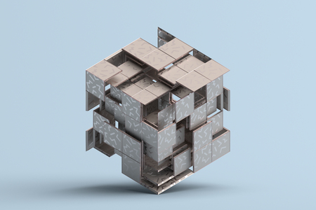 Representación 3d abstracta de formas geométricas. Composición con cuadrados. Diseño de cubo. Fondo moderno para cartel, portada, marca, pancarta, cartel. Foto de archivo