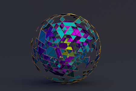 Abstract 3d rendering of polygonal sphere. 스톡 콘텐츠