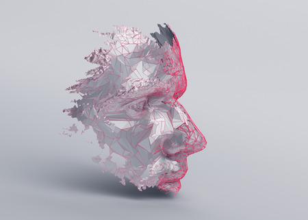 Polygonales menschliches Gesicht. 3D-Illustration einer Cyborg-Kopfkonstruktion. Konzept der künstlichen Intelligenz.