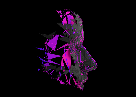 Profilo del volto umano poligonale. Illustrazione moderna astratta 3d di una costruzione della testa concettuale.