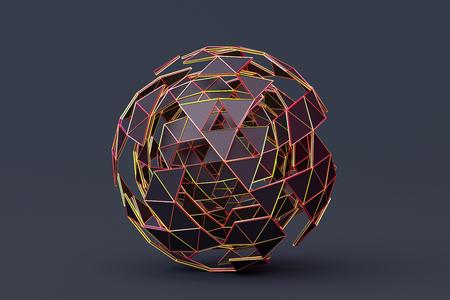 Abstract 3d rendering of polygonal sphere. Stock fotó