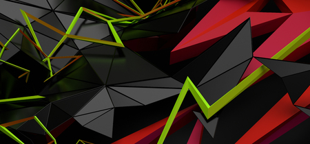 Abstract 3d rendering of random geometric shapes. 스톡 콘텐츠