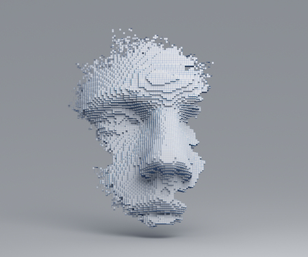 Abstract human face. 3D illustration of a head constructing from cubes. Artificial intelligence concept. Standard-Bild