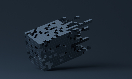 Abstract 3d rendering of a modern shape from cubes, geometric background design