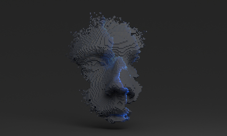 Abstract human face, 3d illustration of a head constructing from cubes, artificial intelligence concept Banque d'images - 116377622