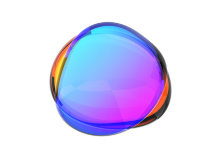 Abstract 3d render of colored bubble shape, modern background design