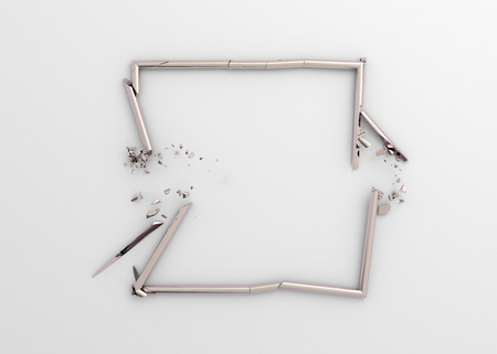 Abstract 3d rendering of broken square. Modern background design with cracked shape