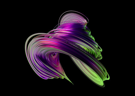 Abstract 3d render, twisted shape, modern illustration, background design 스톡 콘텐츠