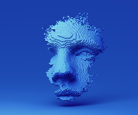 Abstract human face, 3d illustration, head constructed of cubes, artificial intelligence concept 免版税图像 - 120571124