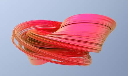 Abstract 3d render, twisted shape, modern illustration, background design Stock Photo