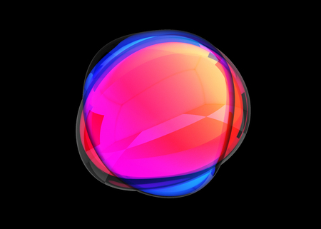 Abstract 3d render, colored bubble shape, modern background design