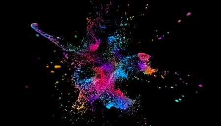 Abstract 3d render of paint splash, cool liquid shape, modern background design