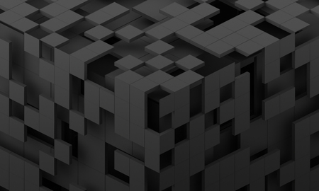 Abstract 3d render, modern background with cubes, geometric design Stok Fotoğraf
