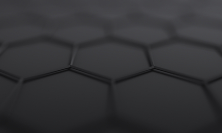 Abstract futuristic surface with hexagons, 3d render, sci-fi background design with bokeh effect