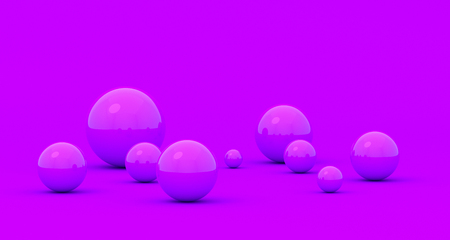 Abstract 3d render of spheres, composition with geometric shapes, modern background design