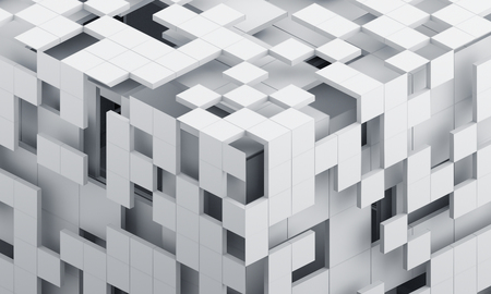 Abstract 3d render, modern background with cubes, geometric design Stock Photo