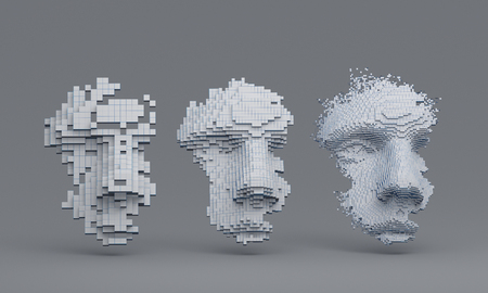 Abstract human face, 3d illustration of a head constructing from cubes, artificial intelligence concept Standard-Bild