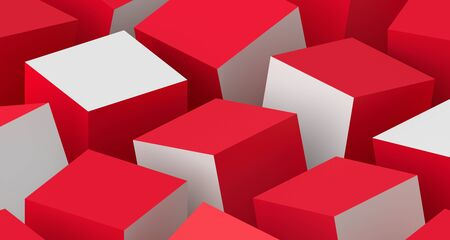 Abstract 3d render, modern background with cubes, geometric design Banco de Imagens