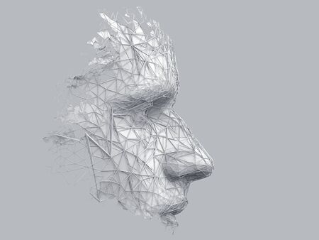Abstraktes polygonales menschliches Gesicht, 3D-Darstellung einer Cyborg-Kopfkonstruktion, Konzept der künstlichen Intelligenz
