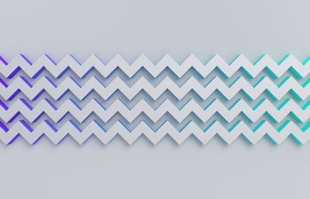Abstract 3d render, background with zigzag shapes, modern graphic design