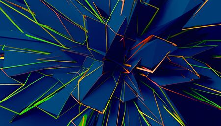 Abstract 3d render, modern background design, chaotic shape Reklamní fotografie