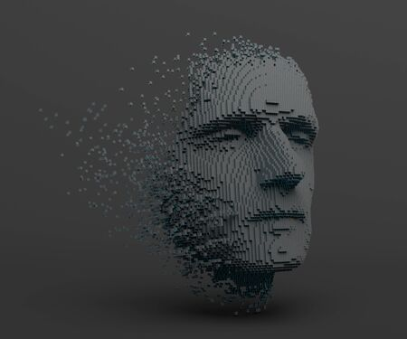 Abstract human face, 3d illustration of a head constructing from cubes, artificial intelligence concept Banco de Imagens