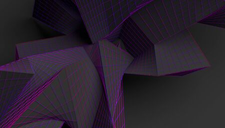 Abstract 3d render, modern background design, chaotic shape Imagens