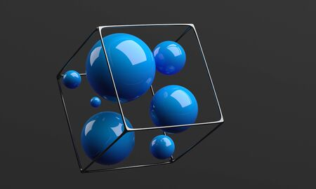 Abstract 3d render, dark background design with spheres