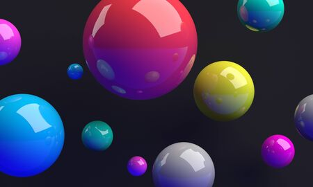Abstract 3d render, colorful spheres on dark background