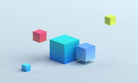 Abstract 3d render, modern background design with colorful cubes