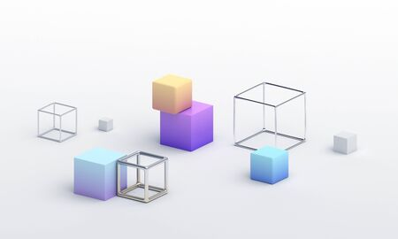 Abstract 3d render, modern geometric  design with cubes