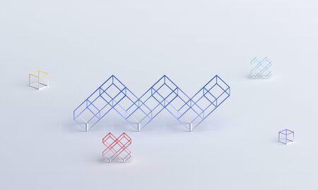 Abstract 3d render, modern geometric design