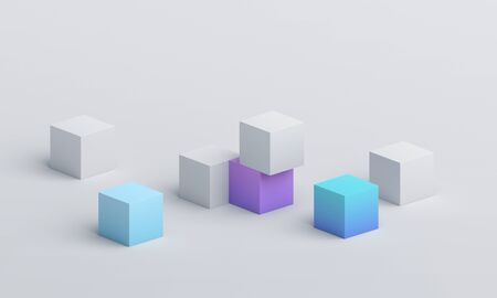 Abstract 3d render, composition of cubes, modern geometric background design