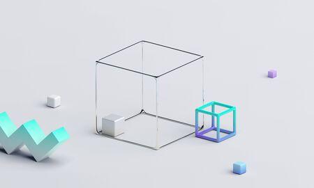 Abstract 3d render, modern background design, geometric composition 免版税图像