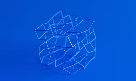 Abstract 3d render, blue modern background design,