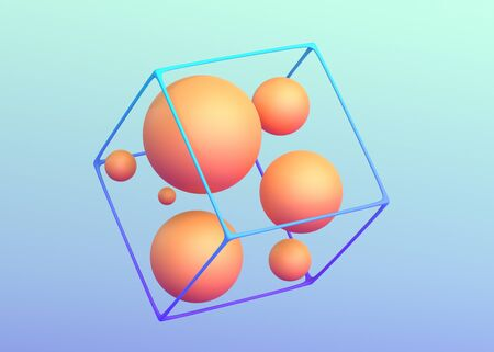 Abstract 3d render, modern background, composition with spheres 免版税图像