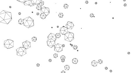Abstract modern pattern with polygonal spheres