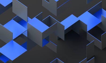 Abstract 3d render, modern geometric background design 免版税图像