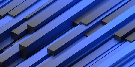 Abstract 3d render, blue modern geometric background design 免版税图像