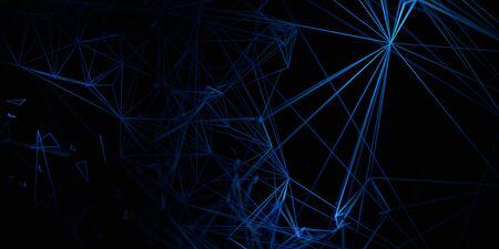 Abstract 3d render, dark futuristic background design