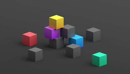 Abstract 3d render, composition composition, modern background design with cubes
