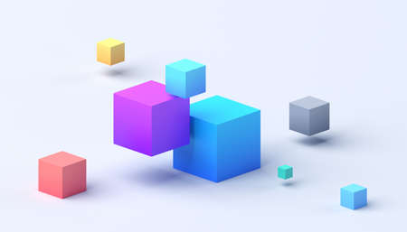 Abstract 3d render, composition composition, colorful background design with cubes 免版税图像