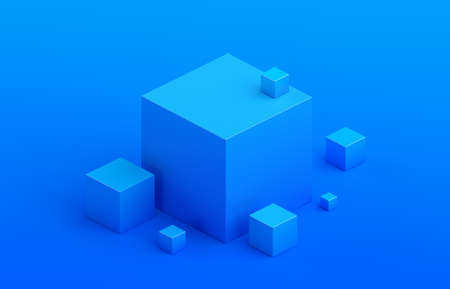 Abstract 3d render, composition composition, blue background design with cubes 免版税图像