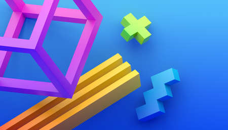 Abstract 3d render, modern background with geometric shapes, graphic design Foto de archivo