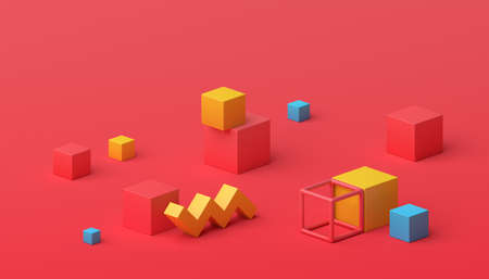 Abstract 3d render, geometric composition, red background design with cubes