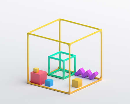 Abstract 3d render, geometric composition, colorful background design with cubes 免版税图像