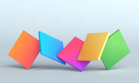 Abstract 3d render, background design with colorful squares 免版税图像